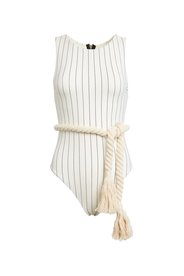 The Lady One Piece (Cream Pinstripe)