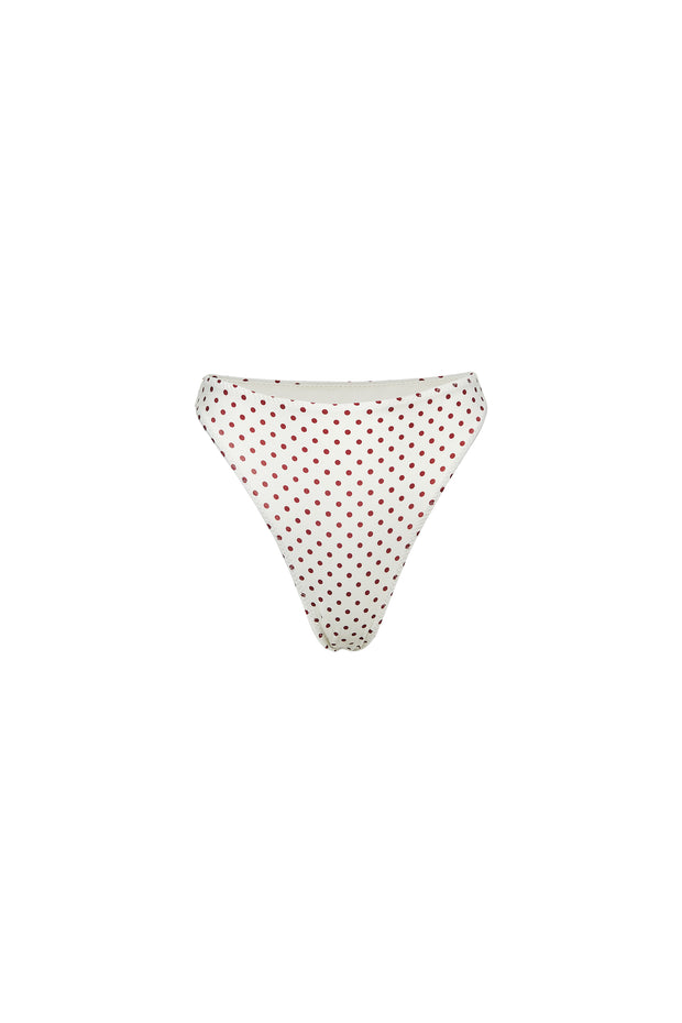 High Rise Bottom (Cream Maroon Polka Dot)