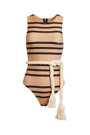 The Lady One Piece (Cashew Black Stripe)