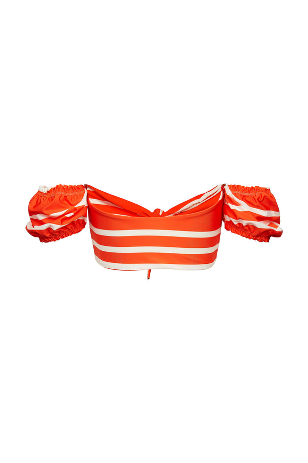 Ruffle Sleeve Top (Rich Orange Stripe)