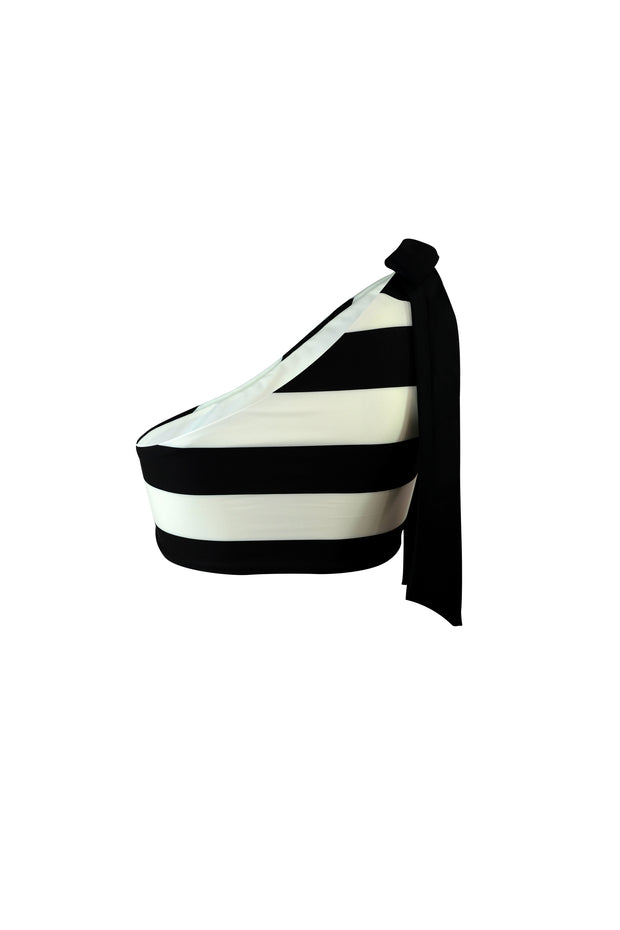 The Lady Tie Top (Black Cream Stripe)