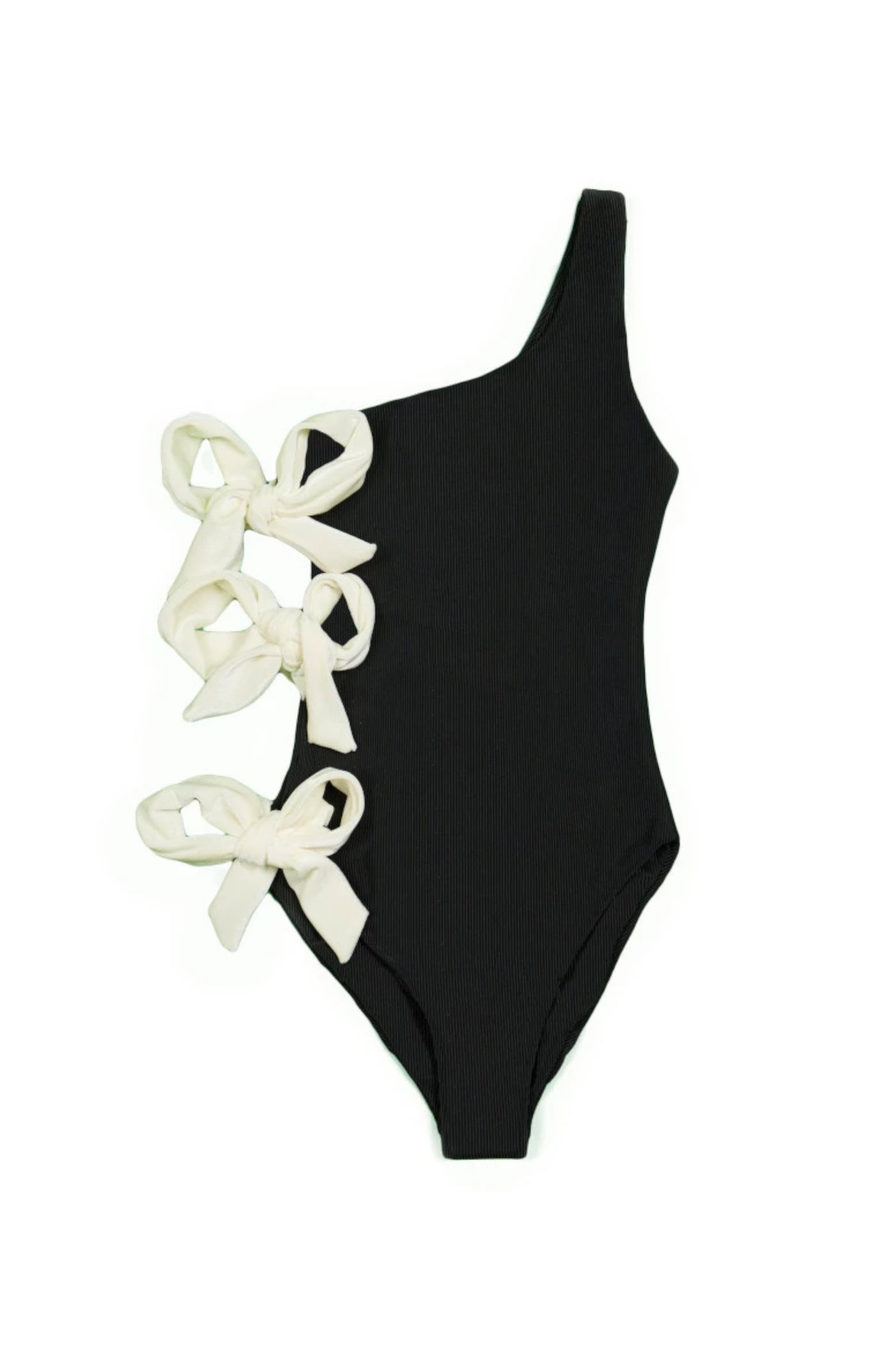 The Zoe One Piece (Ribbed Black/White Velvet)