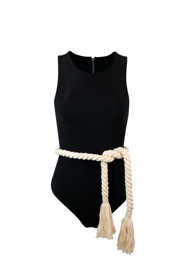The Lady One Piece (Ribbed Black)