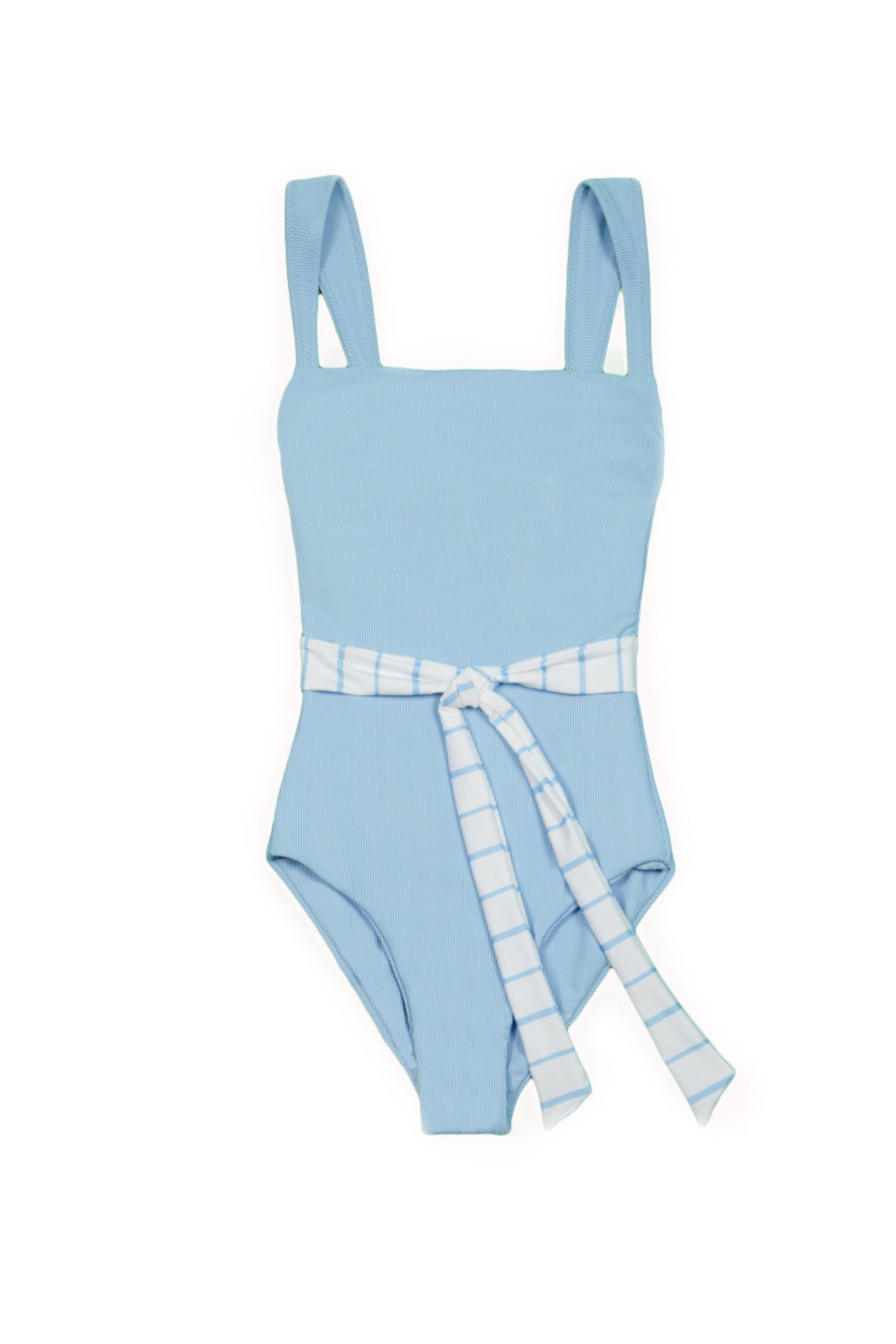 The Betty One Piece (Ribbed Baby Blue/Blue and White Stripe Belt)