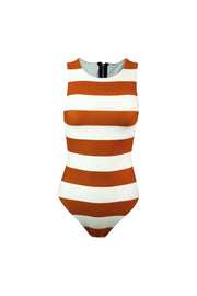 The Lady One Piece (Cream Camel Stripe)