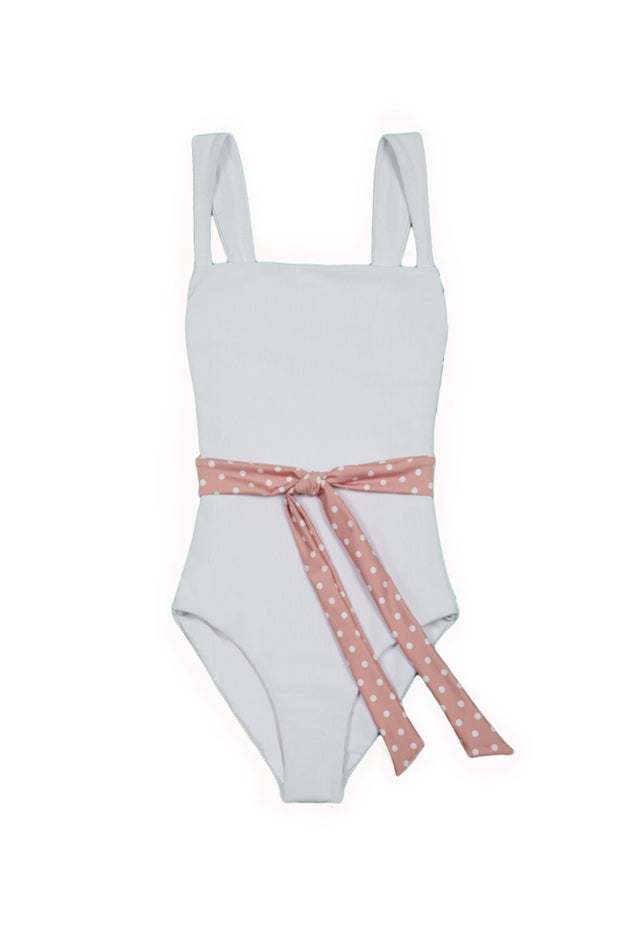 The Betty One Piece (Ribbed White/Blush and White)