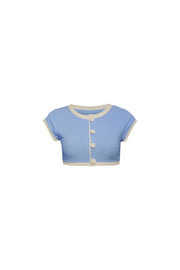 The Grace Top (Ribbed Baby Blue/Cream)