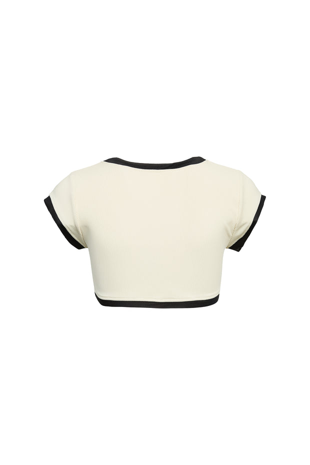 The Grace Top (Ribbed Cream/Black)