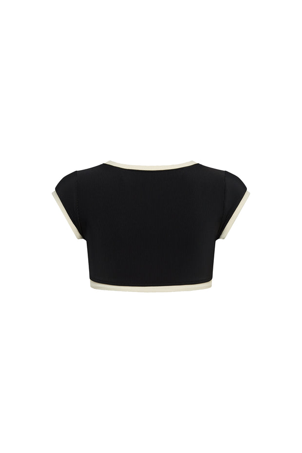 The Grace Top (Ribbed Black/Cream)