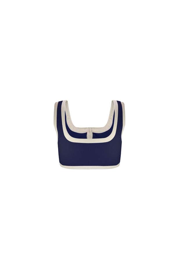 The Grace Tank (Ribbed Navy/Cream)