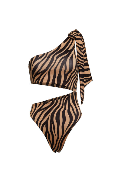 Cut Out One Piece (Zebra/Nude)