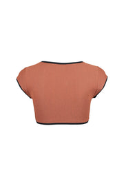 The Grace Top (Faux Suede Burnt Sienna/Black)
