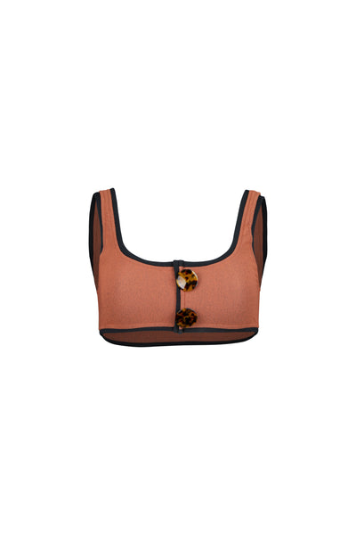 The Grace Tank (Faux Suede Burnt Sienna/Black)