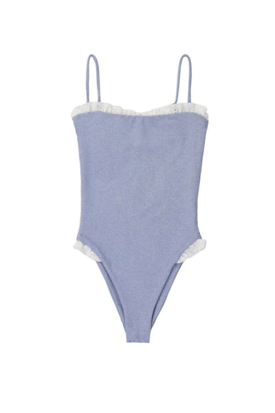 The Pin-Up One Piece (Denim/Eyelet Ruffle)