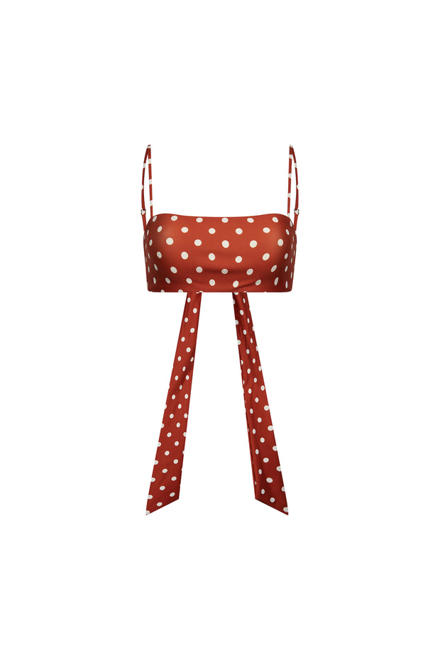 Bandeau Top (Brick White Polka Dot)