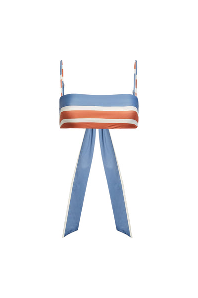 Bandeau Top (Camel Cream Slate Stripe)