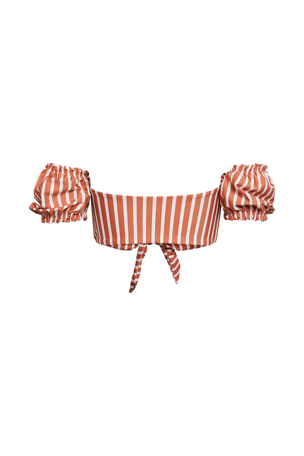 Ruffle Sleeve Top (Camel White Stripe)