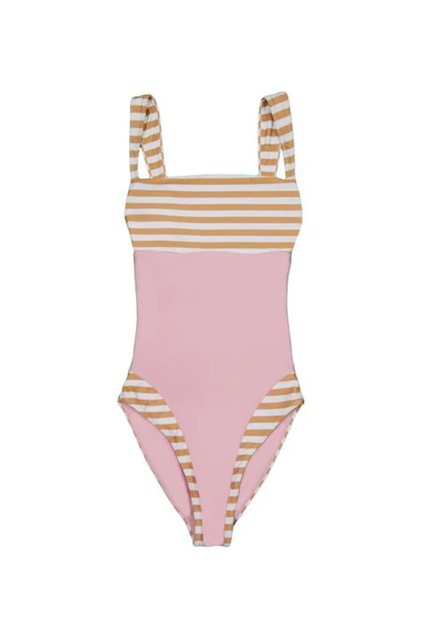 The Divine One Piece (Tan White Stripe/Pink)