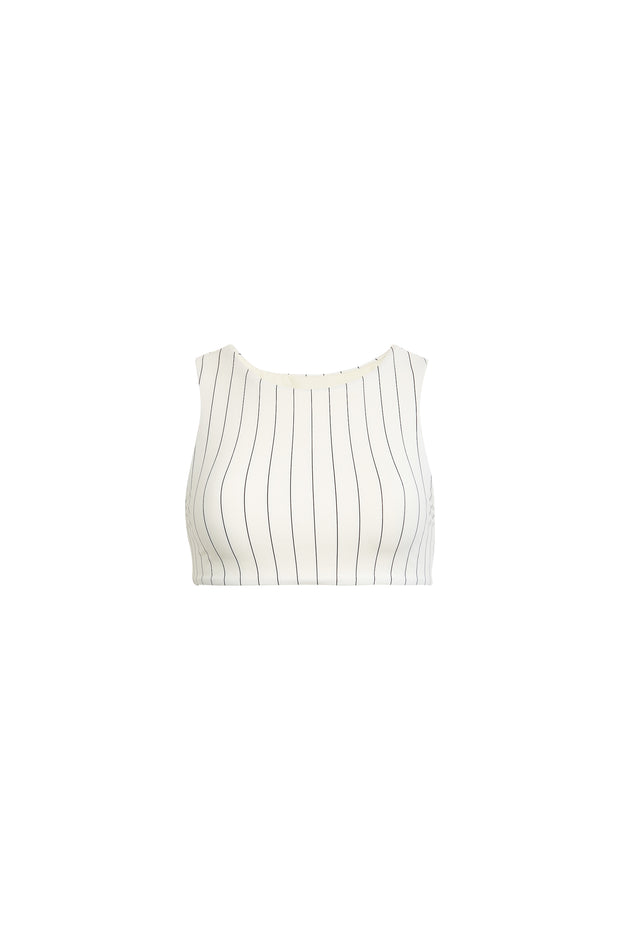 The Lady Top (Cream Pinstripe)