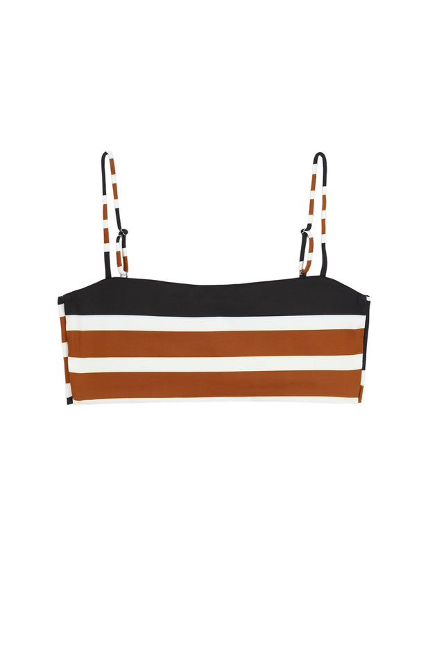 Bandeau Top (White/Black/Brown Stripe)