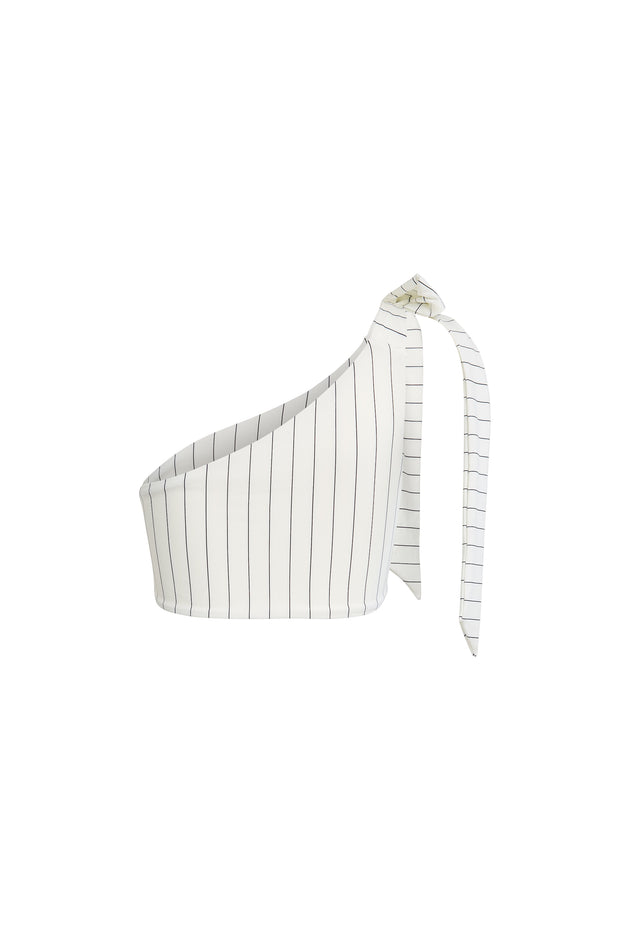 The Lady Tie Top (Cream Pinstripe)