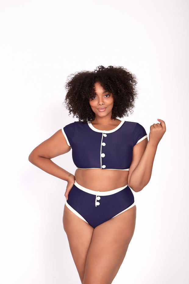 The Grace Top (Ribbed Navy/Cream)