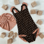 mini me one piece (black white polka dot/ribbed blush)