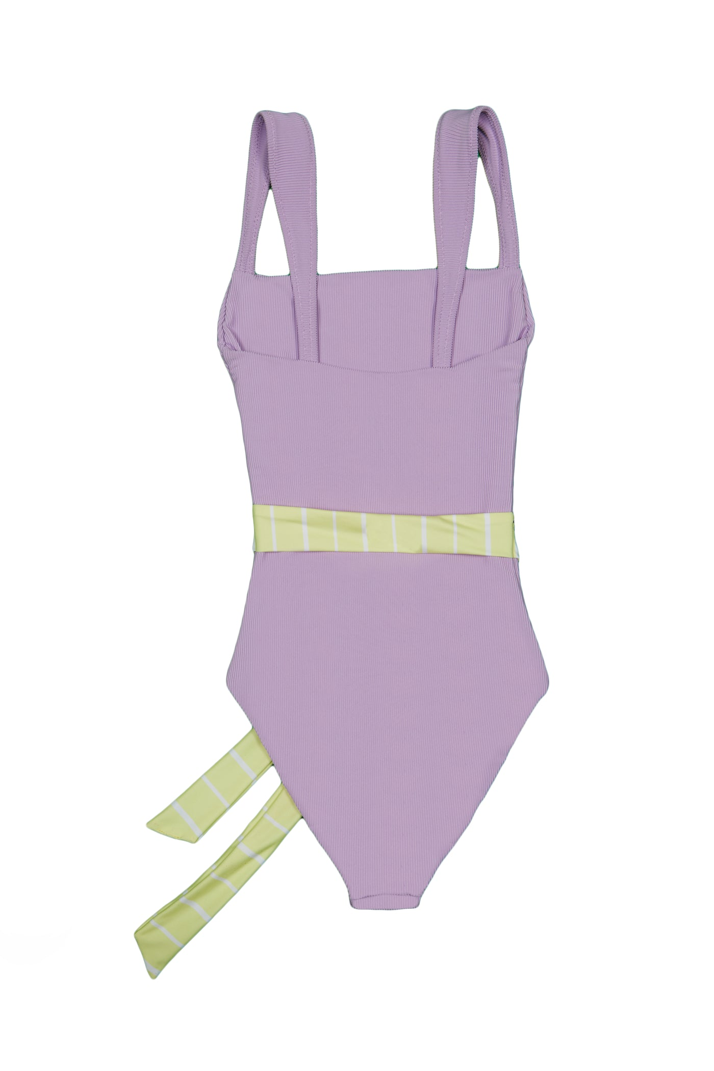 The Betty One Piece (Ribbed Lavender / Yellow and White Stripe Belt)