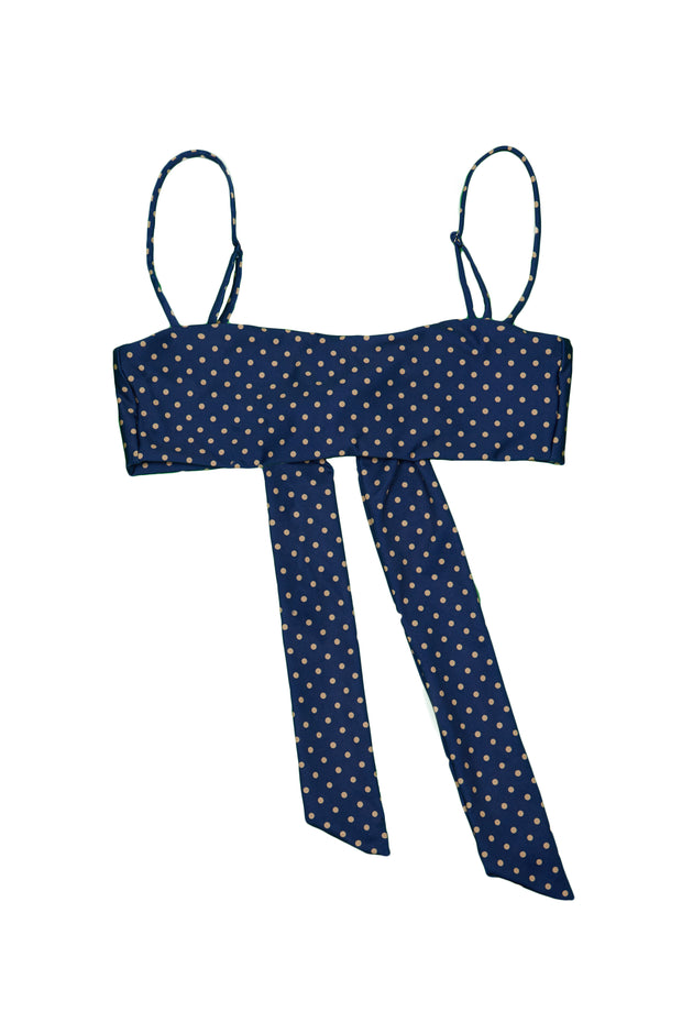 Bandeau Top  (Navy Nude Polka Dot)