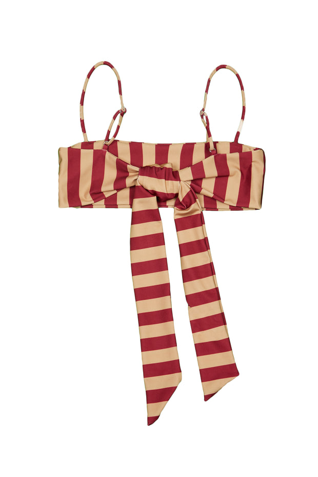 Bandeau Top  (Burgundy Nude Stripe)