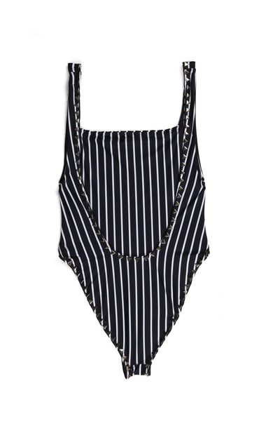 The Goddess One Piece (Stripe Noir & Blanc)