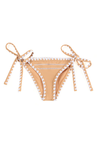 The Tease Tie Side Bottom (Tan/Blanc Stitch)