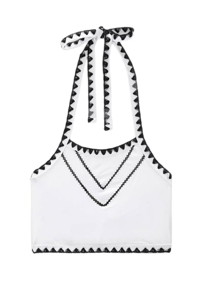 The It Girl Halter Top (Blanc/Noir)