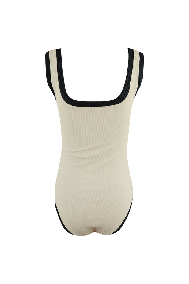 The Grace Tank One Piece (Ribbed Cream/Black)