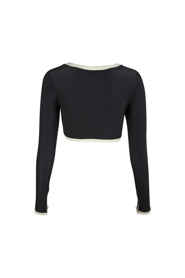 The Grace Rashguard (Ribbed Black/Cream)