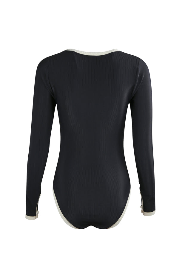 The Grace Rashguard One Piece (Ribbed Black/Cream)