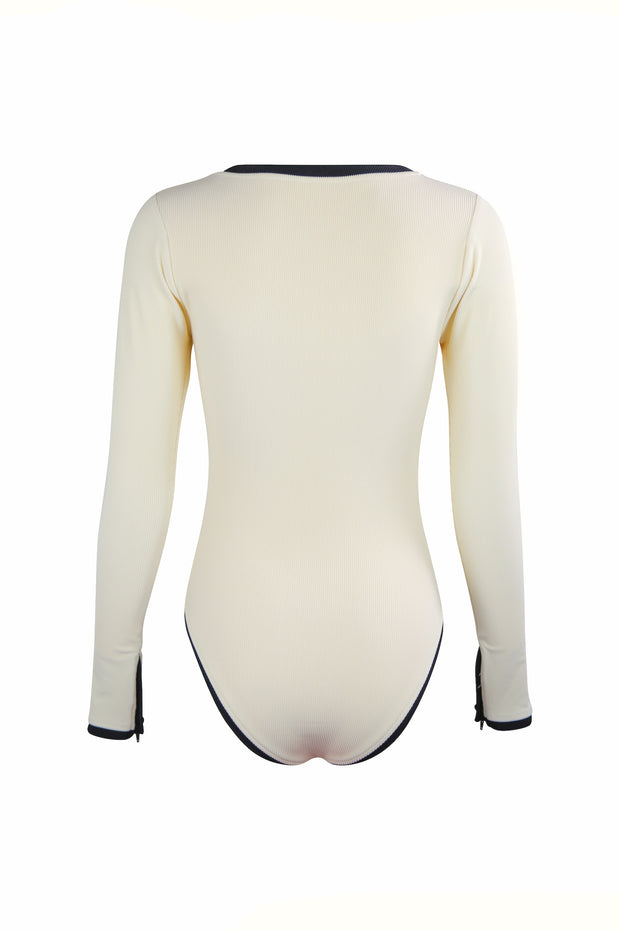 The Grace Rashguard One Piece (Ribbed Cream/Black)