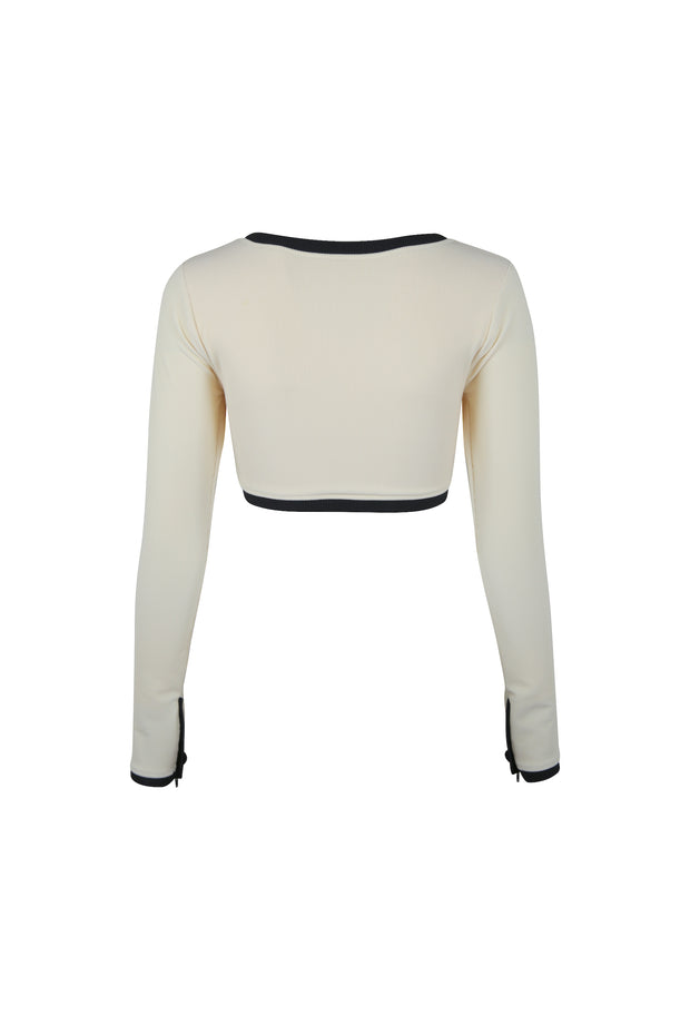 The Grace Rashguard (Ribbed Cream/Black)