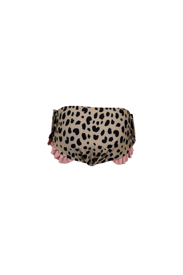 ruffle swim bloomer (leopard/ribbed blush)