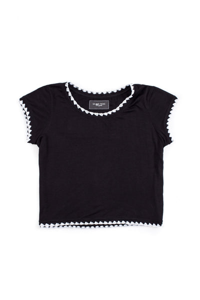 The Crop Tee (Noir/Blanc Stitch)