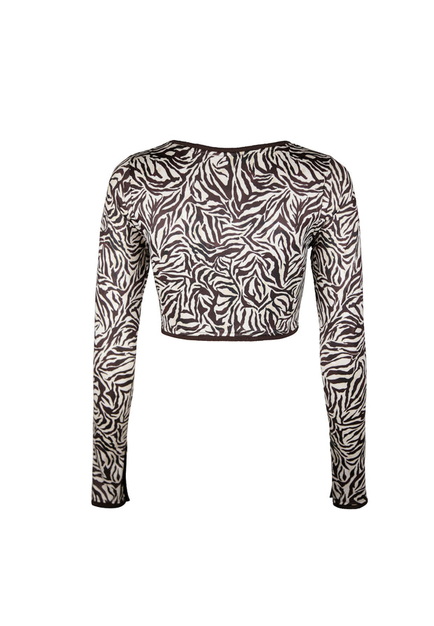The Grace Rashguard (Ivory Zebra/Ribbed Brown)