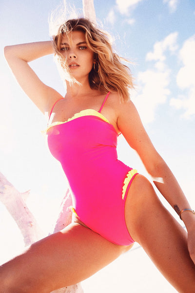 The Pin-Up One Piece (Neon Pink/Neon Yellow)