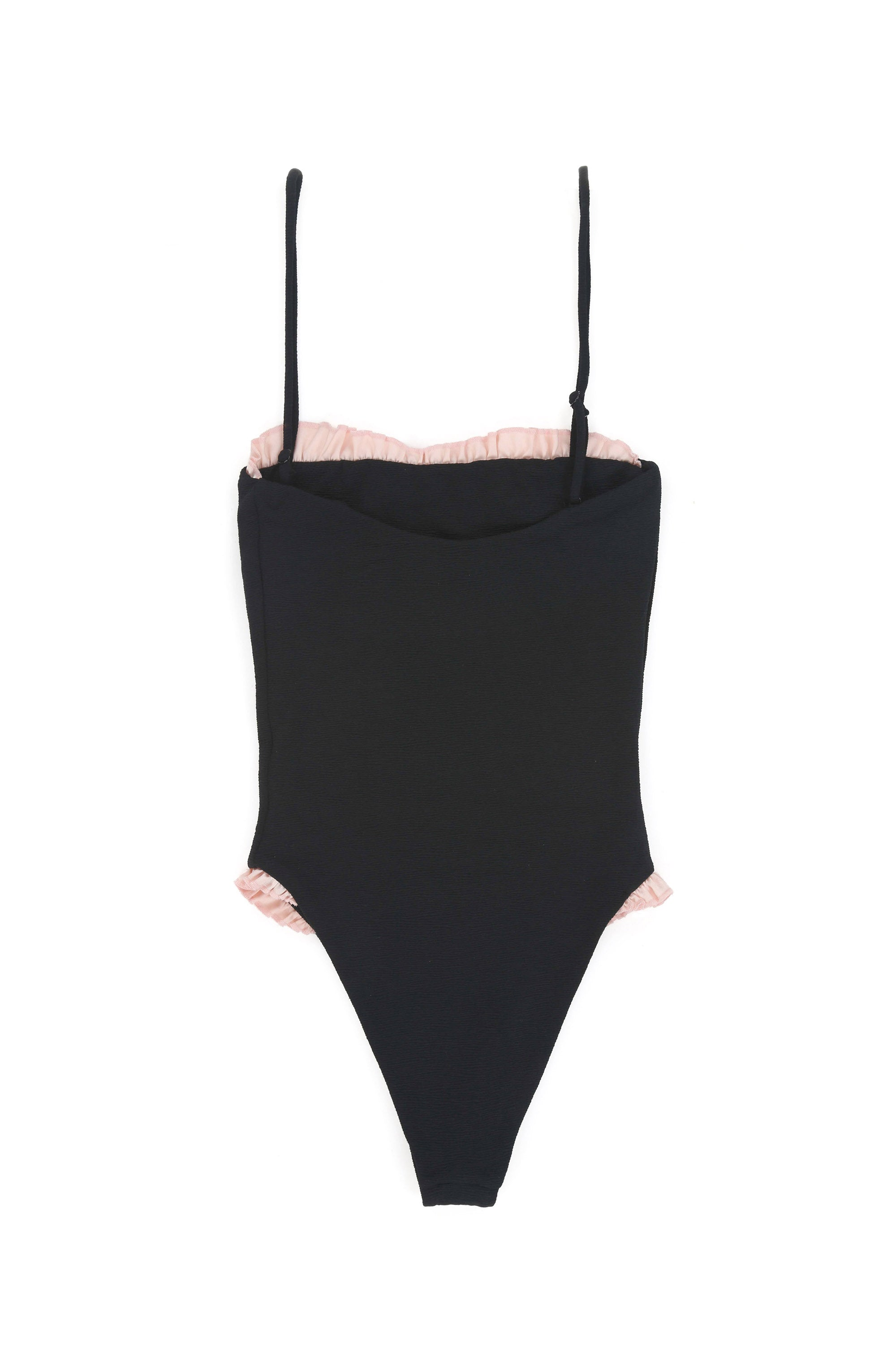 The Pin-Up One Piece (Textured Black/Pink)