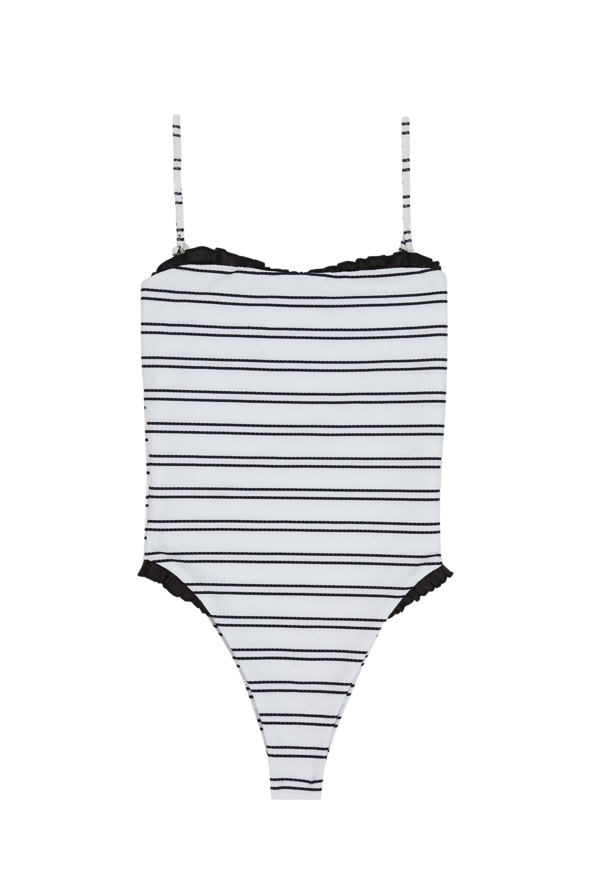 The Pin-Up One Piece (Woven Black & White Stripe)