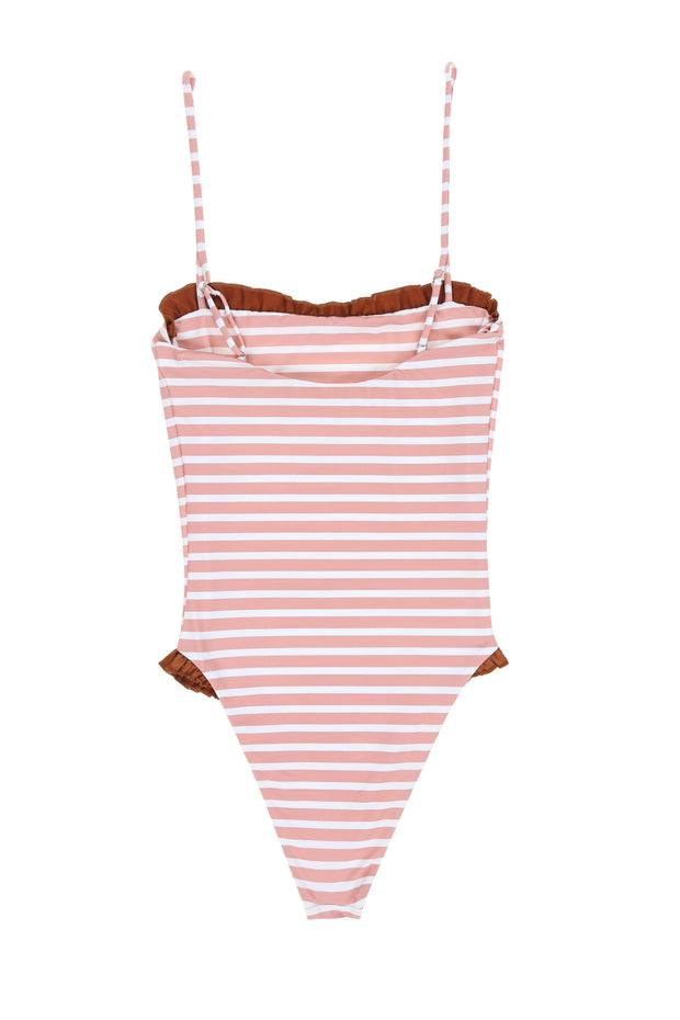 The Pin-Up One Piece (Pink Stripe/Rust)