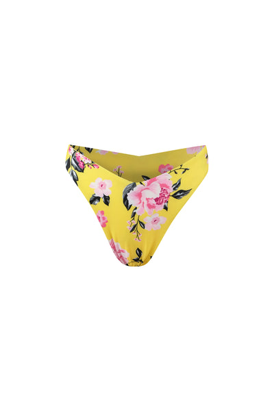 V High Hip Bottom (Yellow Pink Floral)