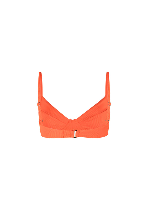 Bustier Bra Top (Ribbed Neon Blood Orange)