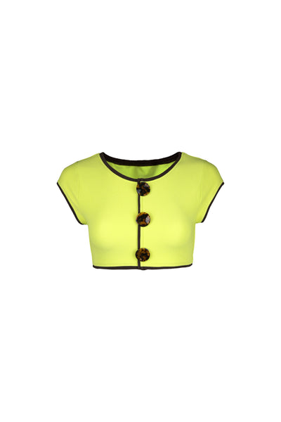 The Grace Top (Faux Suede Citron/Brown)