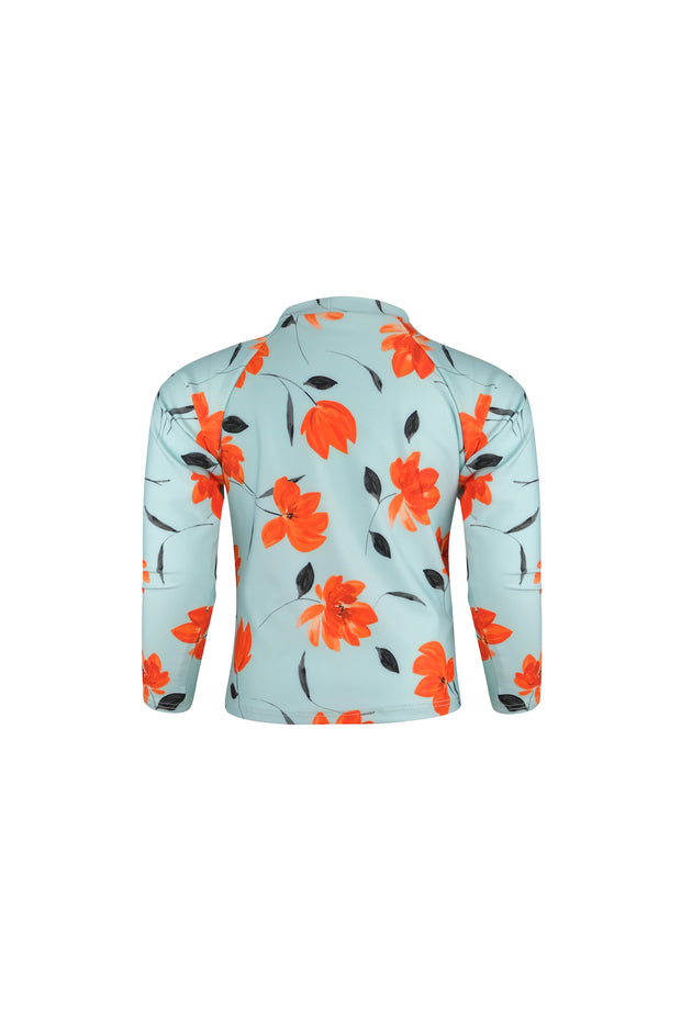 unisex rashguard (blue orange floral)