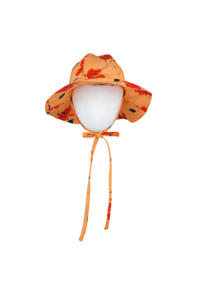 sun hat (peach rust floral)